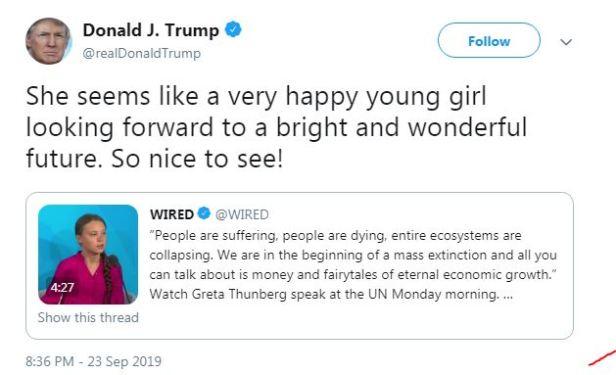 Donald J Trump Greta Thunberg