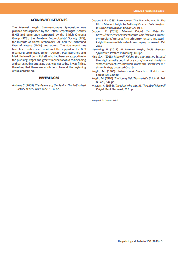 Maxwell Knight memorial FFON BHS Herpetological Bulletin 150
